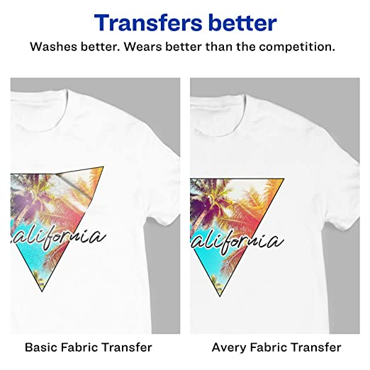 Amazon Avery T Shirt Transfers For Light Fabric 85 X 11 18 Sheets 8938 Image Transfer Office Products