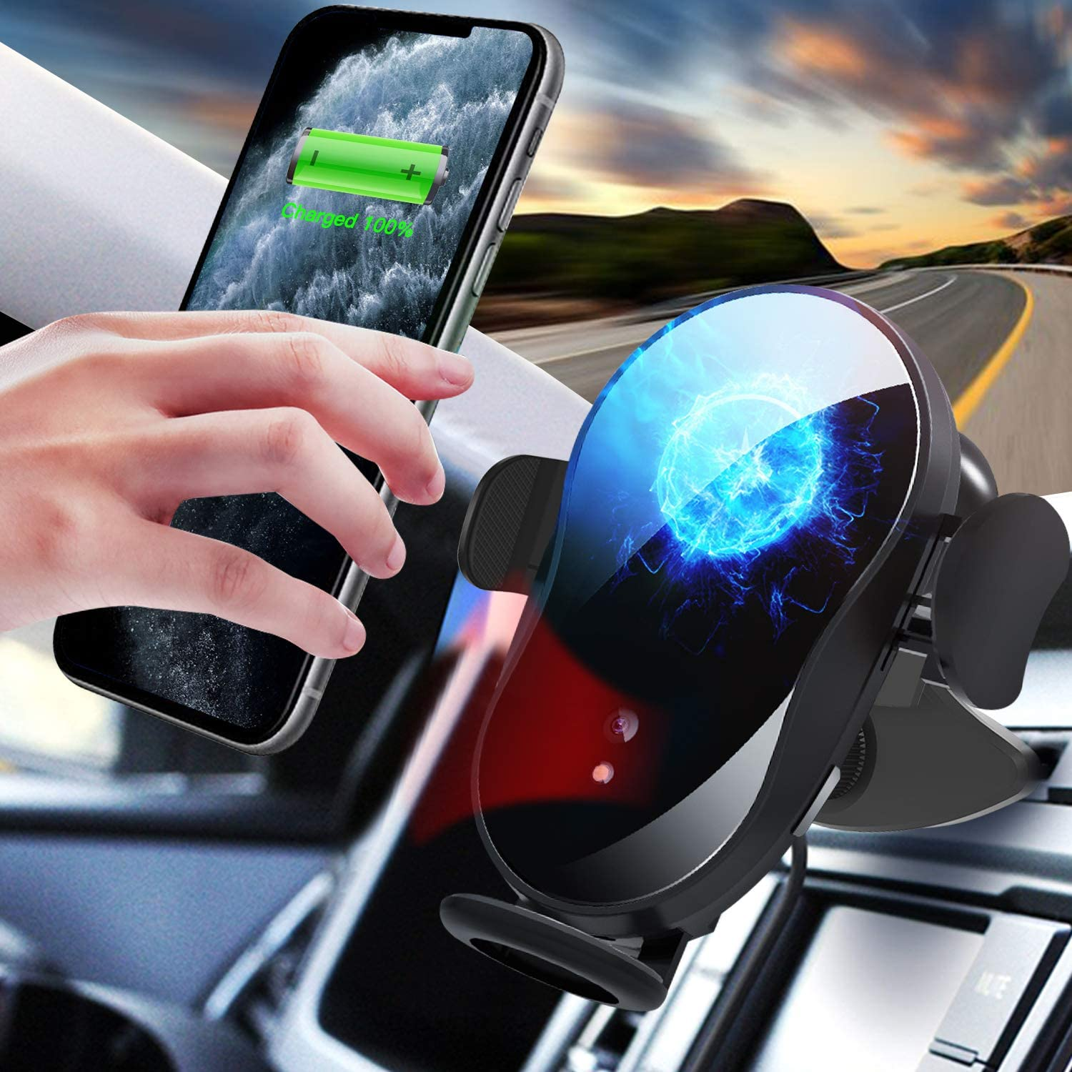 Fast Charger Infrared Sensor Car Phone Holder,Automatic Clamping CD Slot Wireless Charger for iPhone X//XR//Xs Max//11//11 Pro//11 Pro Max//Samsung Galaxy CD Slot Car Phone Mount 15W Wireless Car Charger