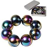 NICO SEE WONDER 1Inch 25mm Rainbow Magnetic Balls, 8Pcs Sphere Magnets Fidget Toys with Box, Hematite Magnetic Rattlesnake Eg