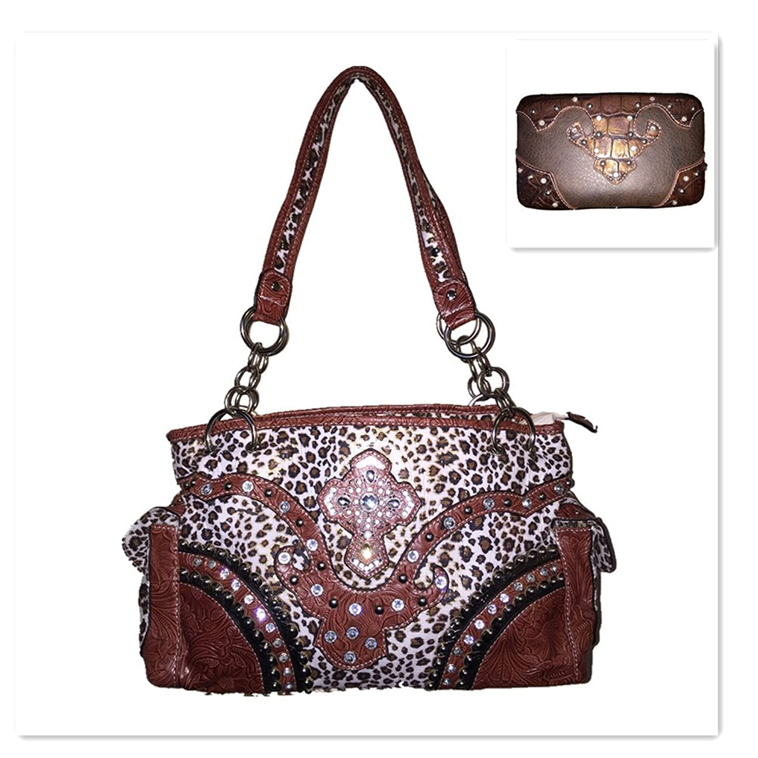Leopard Cow Girl Rhinestone Cross Shoulder Handbag Purse and Matching Wallet A1242 in Brown