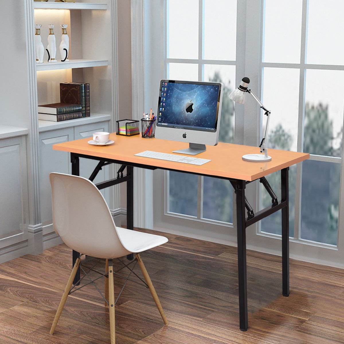 Folding computer desk pc laptop table writing workstation home office furniture modern and simple design made of mdf and steel sturdy and durable