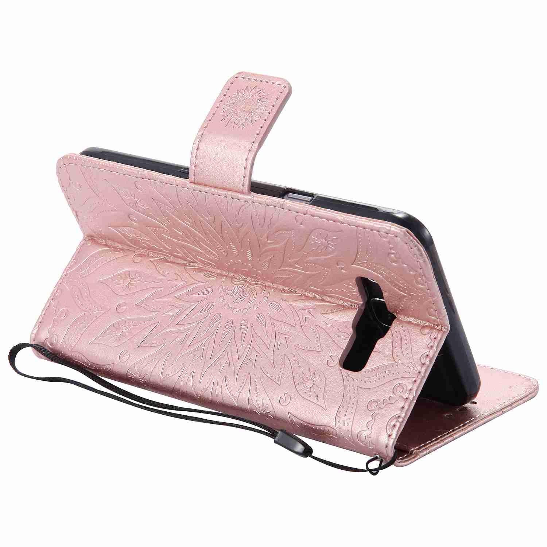 pinlu® Flip Funda de Cuero para Samsung Galaxy J7 (2016) J710 Carcasa con Función de Stent y Ranuras con Patrón de Girasol Cover (Oro Rosa)
