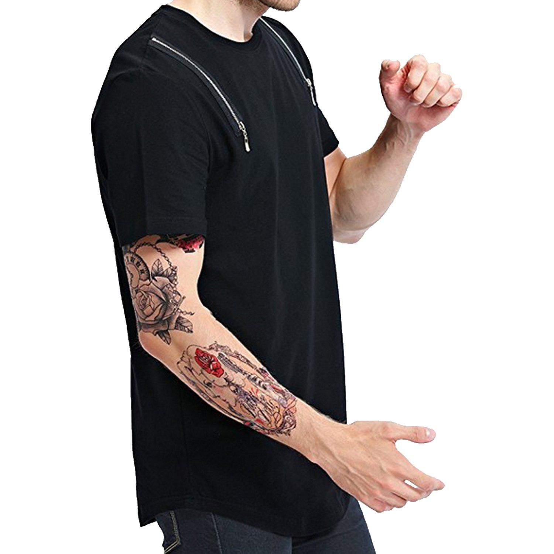 Topjack Mens Hipster Hip Hop Solid Short Sleeve O-Neck Longline Zipper Tee Shirt Top