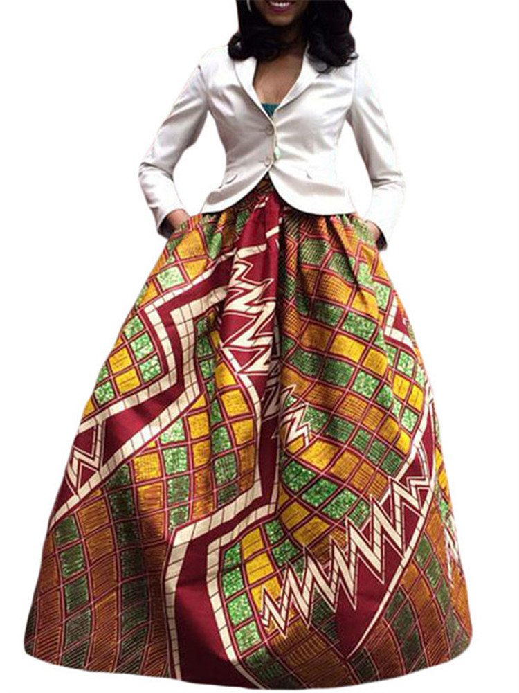 VIGVOG Women's Ethnic Plus-Size African Print Pull-on Pleated Maxi A-line Skirt (L, LC65008-3)