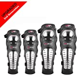 Pivalo PVPBKG4 Pro-Biker Alloy Steel Adjustable Unisex Knee Shin and Elbow Guard Armor Protector for Riders, Outdoor Sports (Black, 4 PCS)