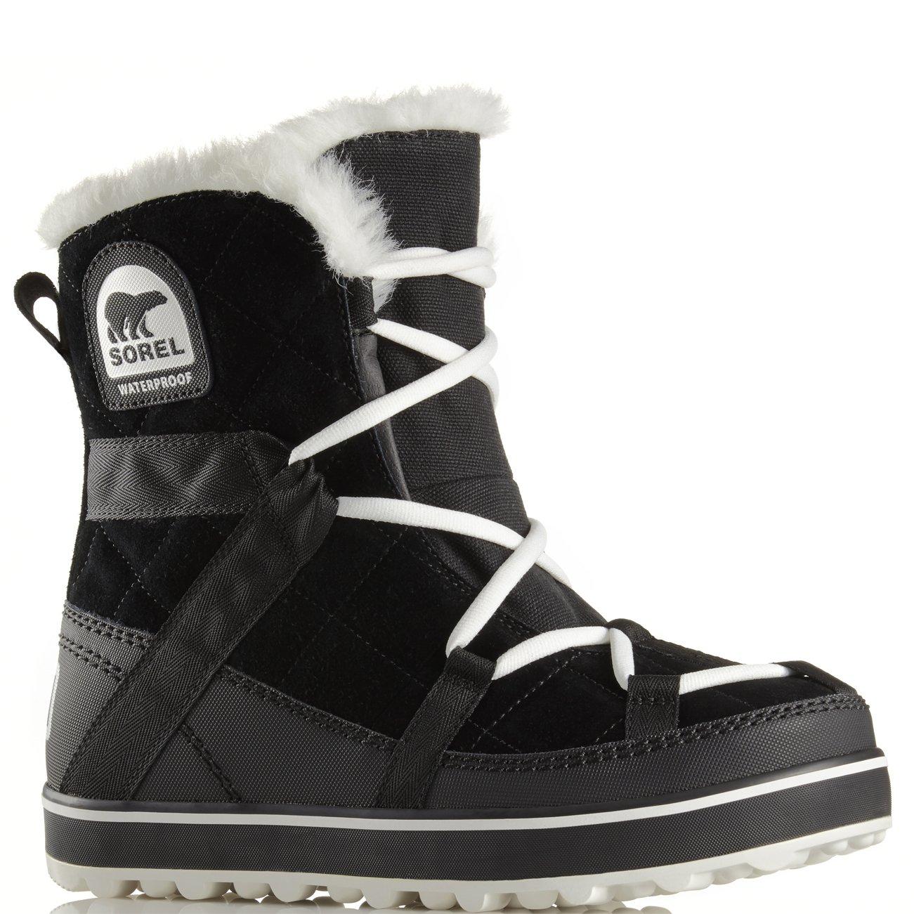 Womens Sorel Glacy Explorer Shortie Waterproof Snow Hiking Winter Boots - Black - 8