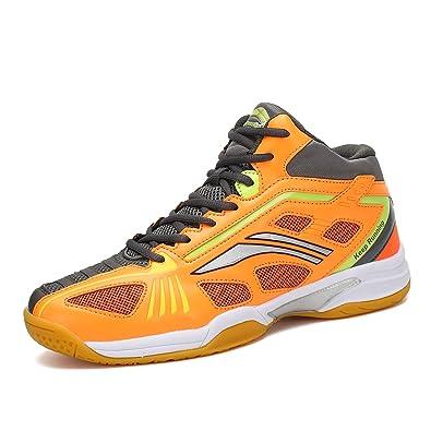 d893afa3ba5 Mishansha Badminton Shoes for Men Non Slip Indoor Court Volleyball Tennis  Sneakers Safety Training Shoe Orange