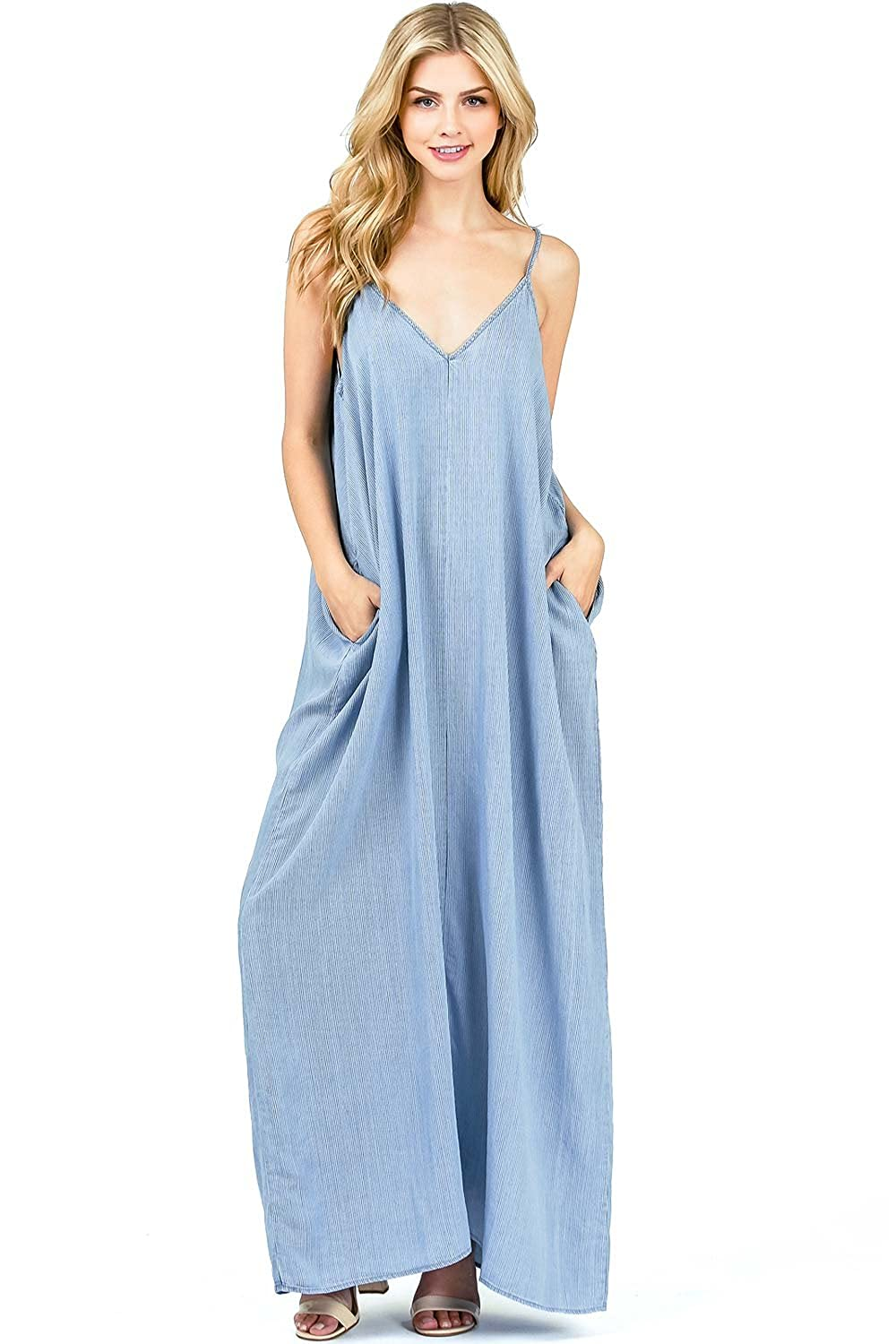 e1f351fb6a9 Beautiful maxi dress with a billowy silhouette and light chambray feel.  Adjustable straps and convenient pockets on the sides. A definite must have  for the ...