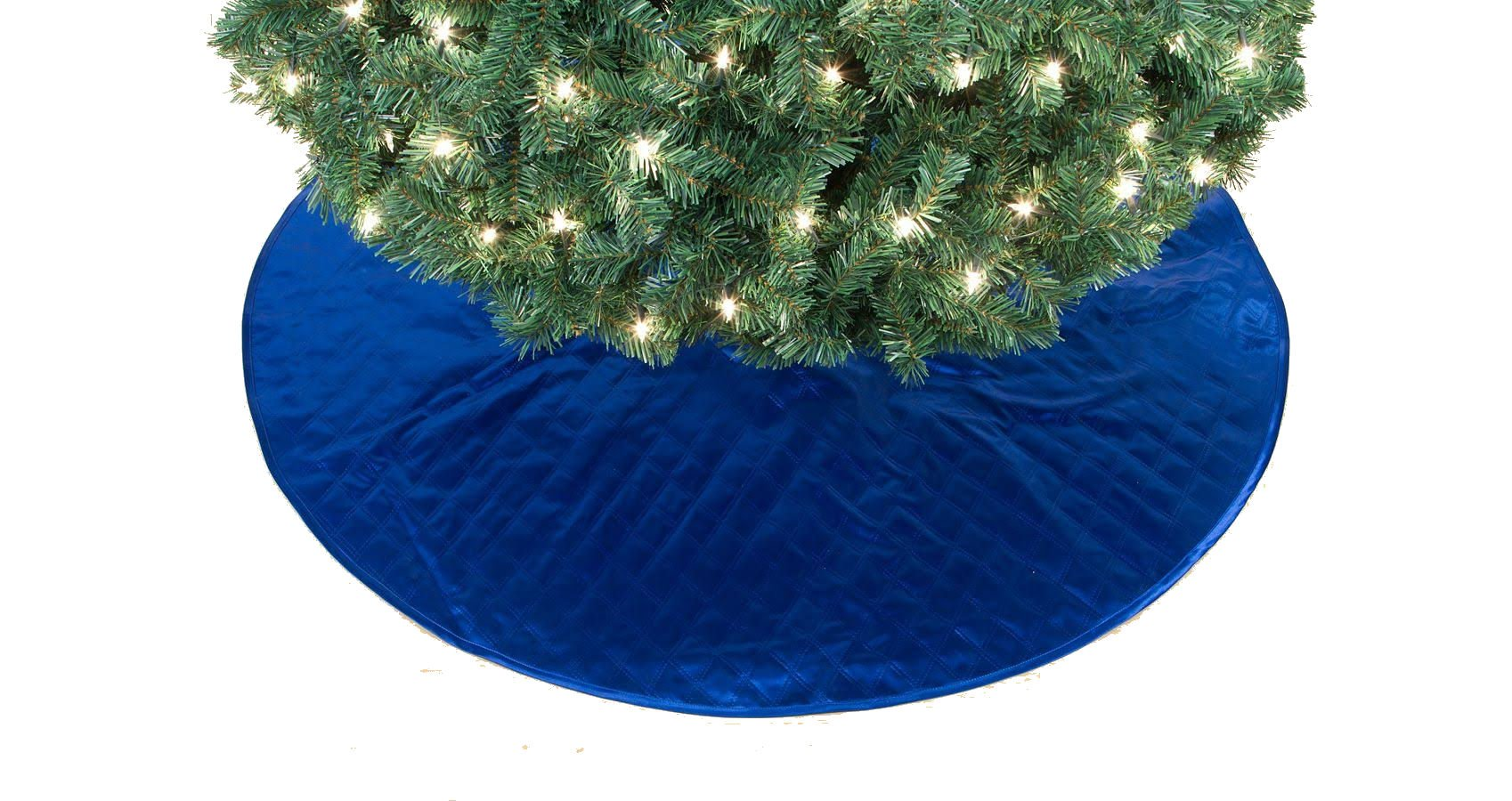 Blue Satiny Quilted Fabric Christmas Holiday Tree Skirt 48 Inch