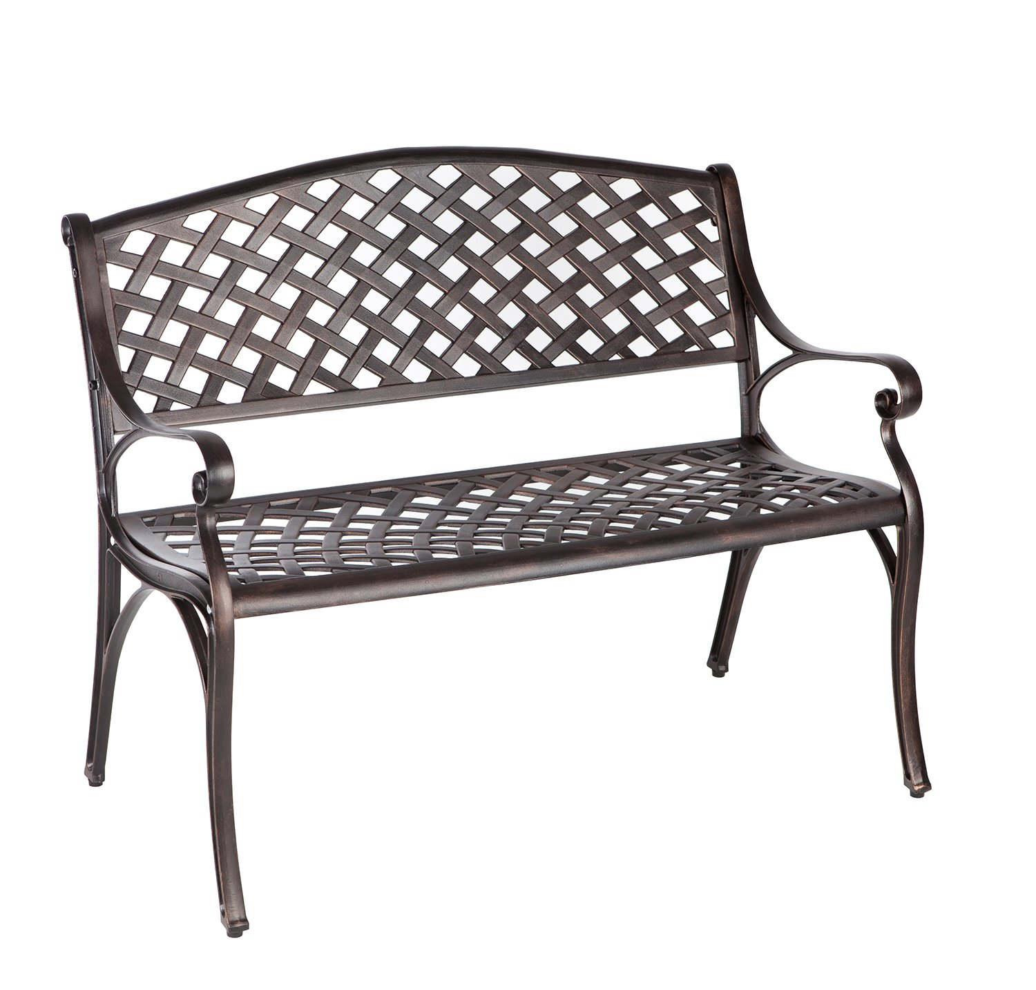 Patioflare PF-BB263 Die Cast Aluminum Bench, Antique Bronze Finish