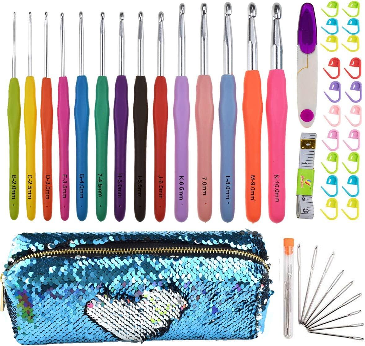 Looen - Gancho de ganchillo con estuche 14 agujas de tejer extra largas, tamaño completo, ergonómico, mango de goma suave al tacto, ganchos para manos artísticas, bueno para grandes proyectos de crochetos: