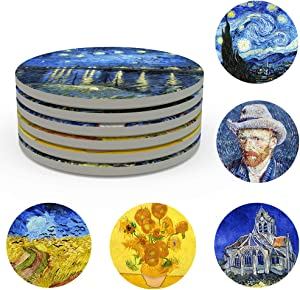 Coasters for Drinks Ceramic Van Gogh Art Coasters Set - Use 6 Famous Van Gogh Paintings, Unique Housewarming Gifts for New Home Decorative by WOWDING