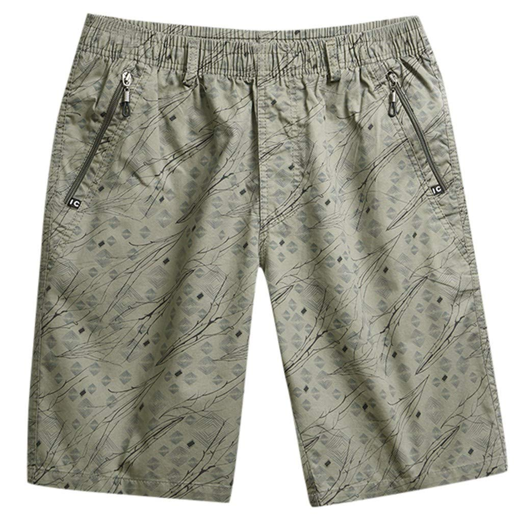 Men's Outdoor Short Cargo Beach Print Shorts Elastic Waist Drawstring Shorts with Zipper Pockets Khaki