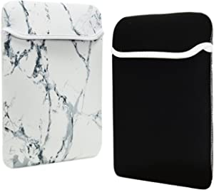 TOP CASE - Marble Pattern Reversible Sleeve Bag Cover Compatible with Most 13