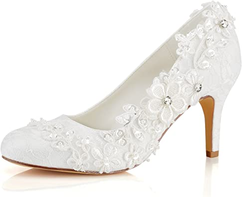 Womens Round Toe Bridal Elegant Wedding Dress Lace Floral High Heel Party Shoes