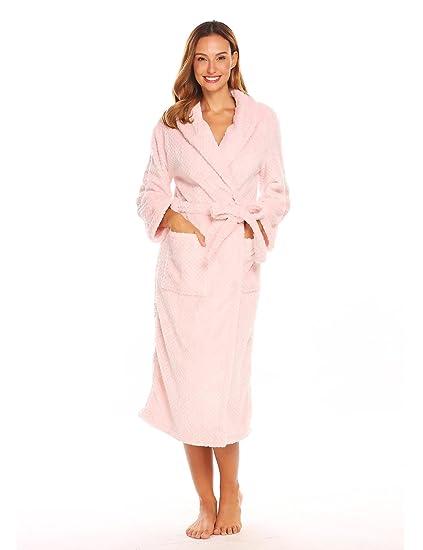Asatr Women Soft Shawl Collar Plush Fleece Sleepwear Robe Winter ... c3680a69f