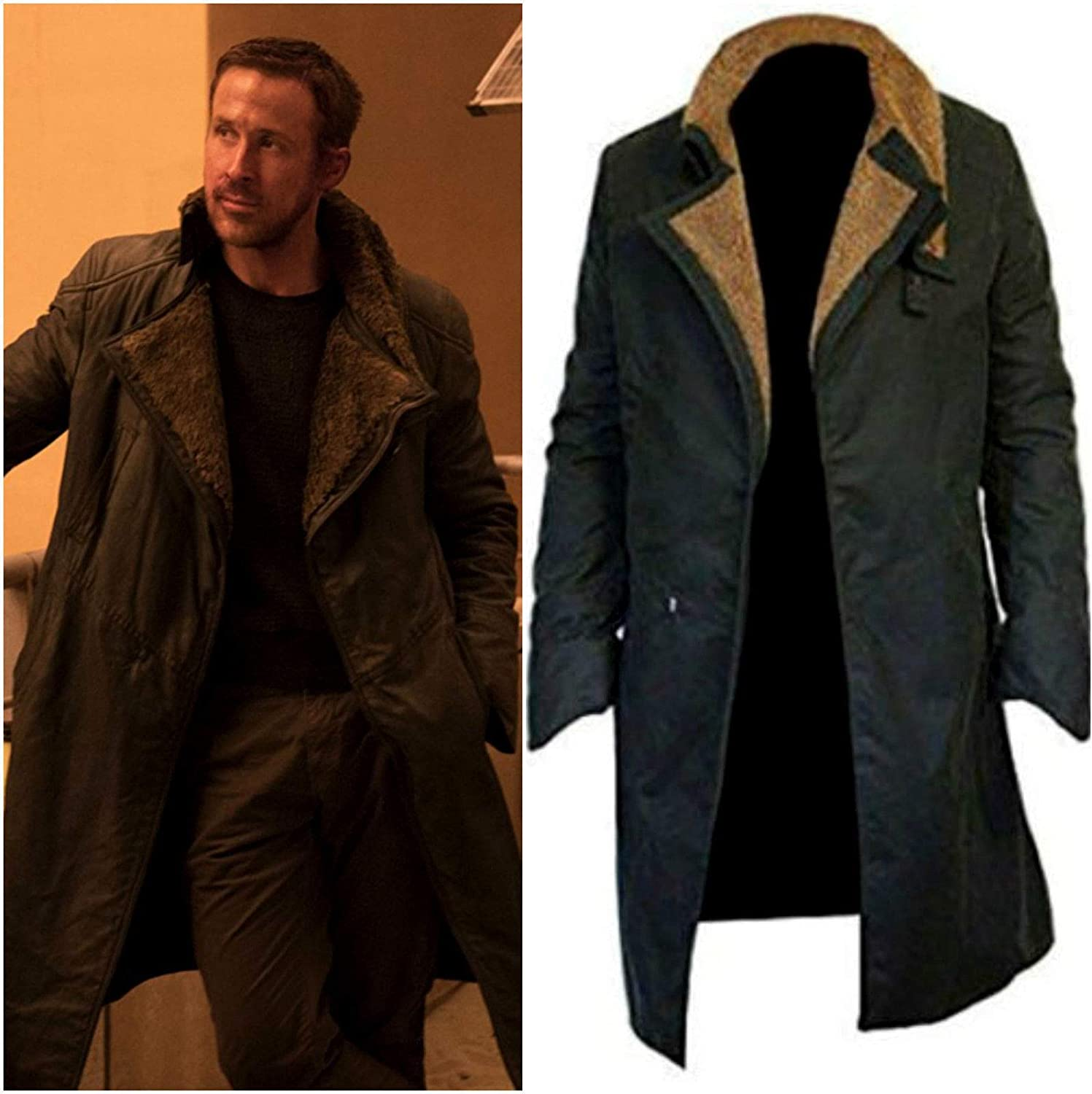 Officer K Fur Lapel Collar Trench Leather Coat Blade Runner 2049 Ryan Gosling