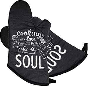 FIGROL Kitchen Oven Mitts, Microwave Oven Glove, Extreme Heat Resistant Gloves for BBQ, Food, Grilling, Frying, Baking Premium Insulated Durable Mitts(Black)