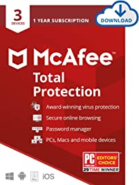 McAfee Total Protection, 3 Device, Antivirus Software, Internet Security, 1 Year Subscription- [Download Code] - 2020 Ready