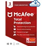 McAfee Total Protection 2020, 3 Device Antivirus Internet Security Software, Password Manager, Privacy, 1 Year - Download Cod