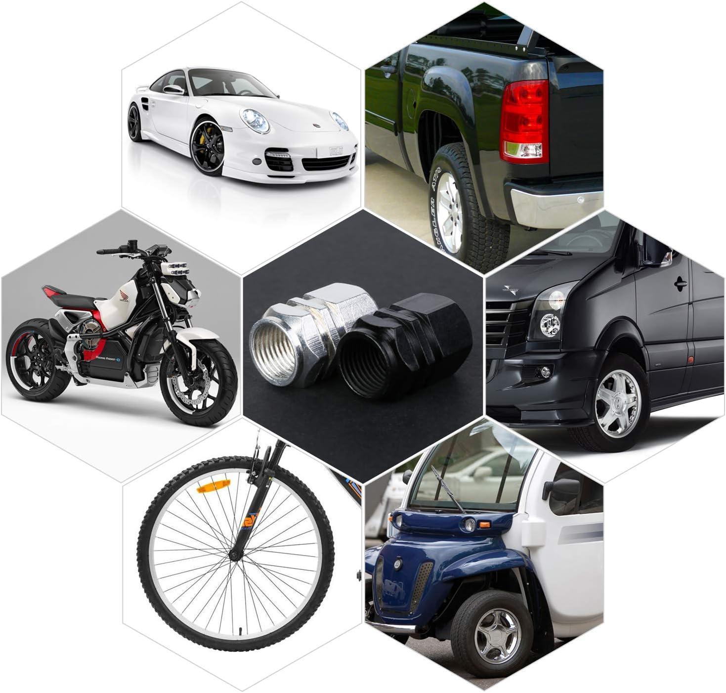 Mwoot 10 Stücke Metallventilkappen Aluminium Ventilkappen Staubdicht Kappe Reifen Für Autos Suv Fahrrad Motorräder Schwarz Silber Auto