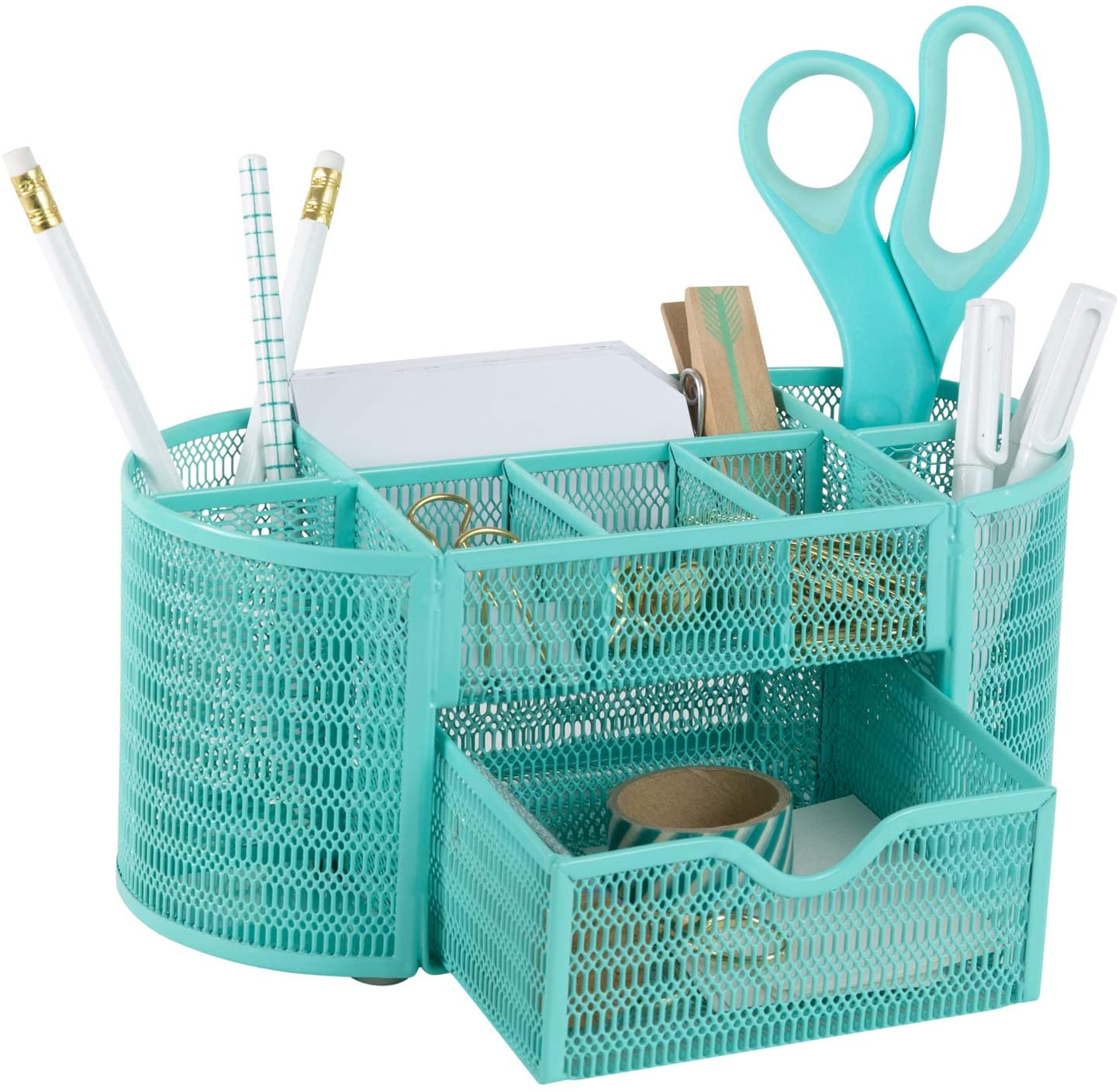 Aqua Desk Organizer - Office Decor - Made of Strong Metal with Aqua Finish - Storage for Office Supplies - Aqua Desk Organizer - Aqua Desk Organizers for Home or Office