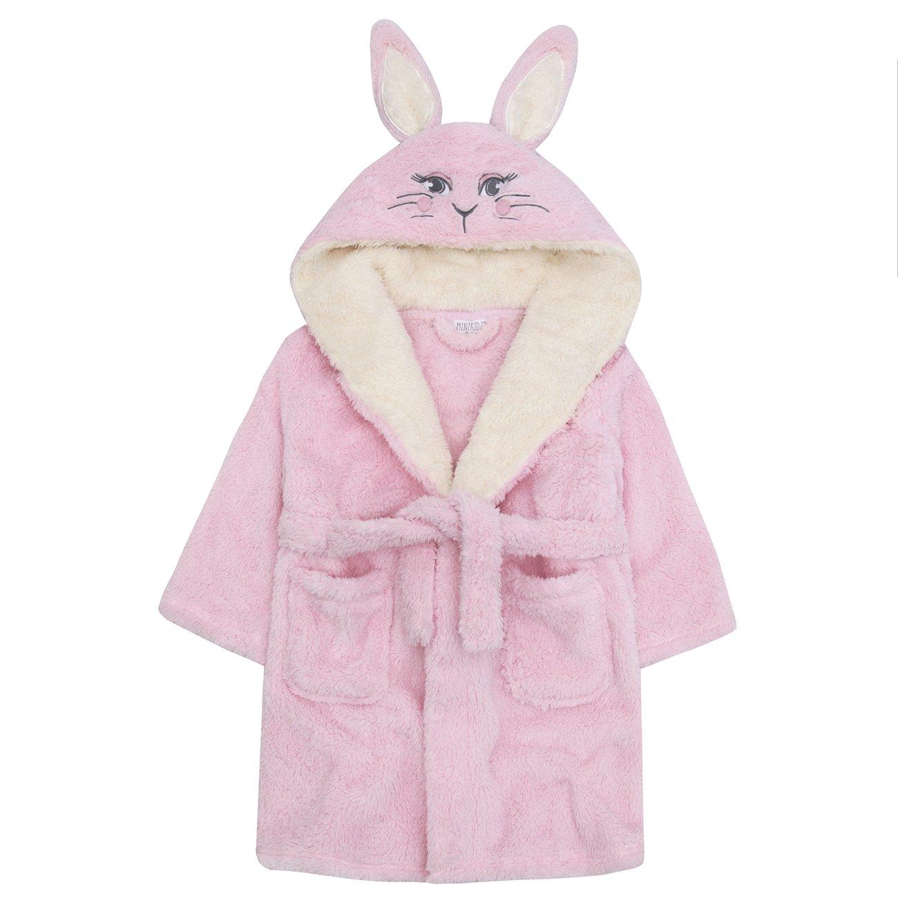Minikidz Girls Bunny Rabbit Robe Kids Plush Hooded Soft Fleece Bath Robe Novelty Dressing Gown Xmas Gift Present 2-13 Years Grey Pink