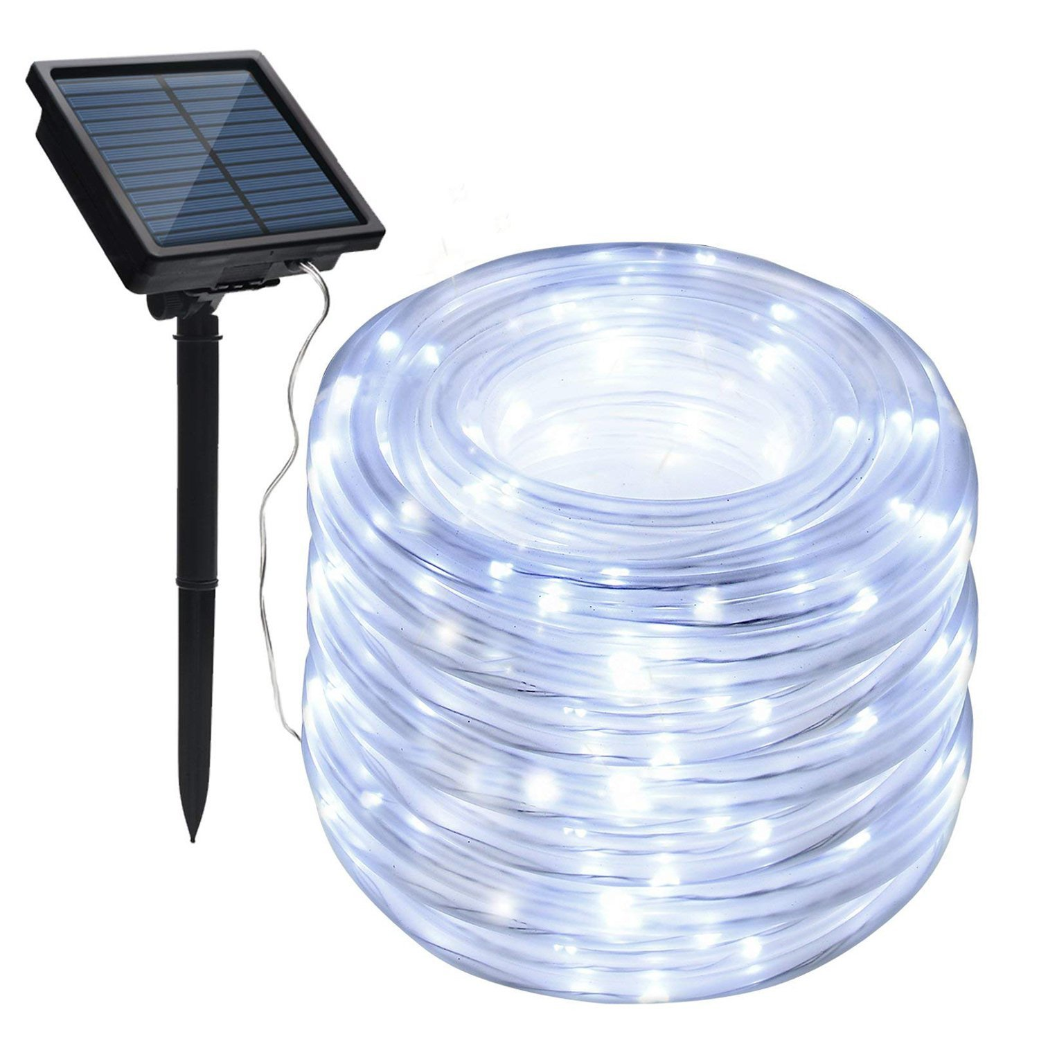 MUEQU Solar Rope String Lights, Waterproof 100 LEDs 39ft/12M Outdoor Decoration String Lights with PVC Tube Cover for Trees Patio Gardens Party Christmas Holiday Wedding (White)