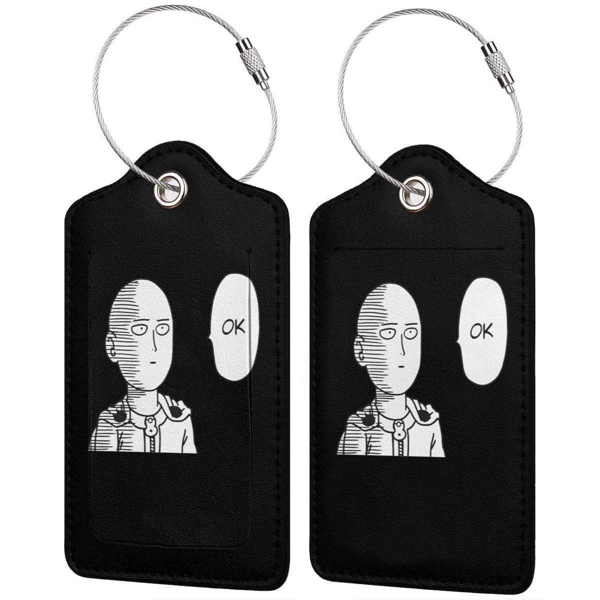 One Punch Man Saitama OK Leather Luggage Tag Travel ID Label For Baggage Suitcase