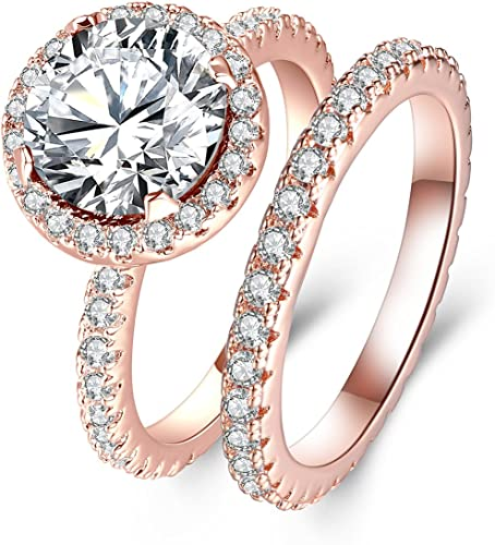 Woman 14K Rose Gold Plated Jewelry Wedding Engagement Ring Size 5-10