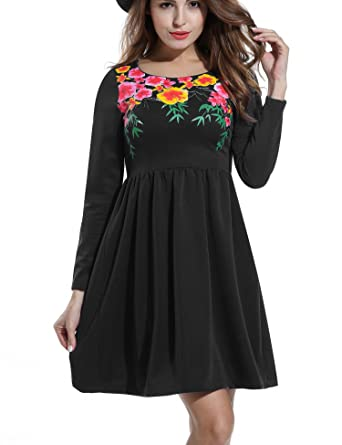 667a5e1f60 Zeagoo Women Vintage Floral Print Long Sleeve Pleated Skater Dress for  Party  Amazon.co.uk  Clothing