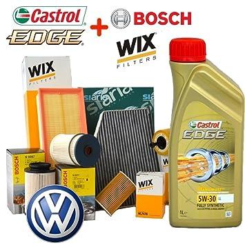 Kit Tagliando Filtros + Aceite Castrol Edge 5 W30 VW Golf V 1.9 TDI: Amazon.es: Coche y moto