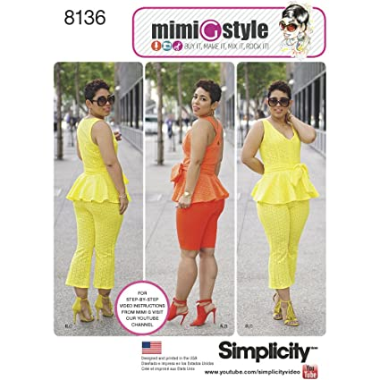 Amazon.com: Simplicity Creative Patterns 8136 Mimi G Style Peplum ...