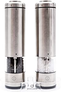 Electric Salt and Pepper Grinder Set by Grove Cuisine - Battery Operated Shakers with LED Lights and Ceramic Grinders - Stainless Steel Mills with Acrylic Stand - Gourmet Cooking for Perfect Seasoning