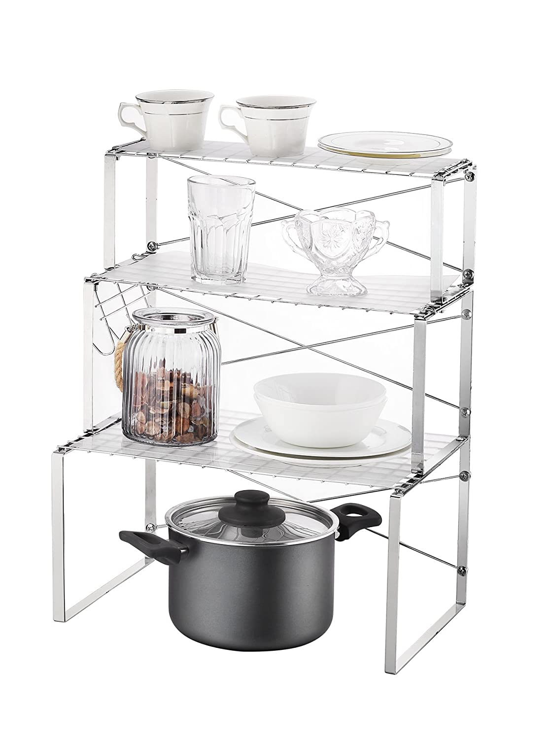 NEUN WELTEN Multi-use 3 Tier Kitchen Cabinet and Counter Shelves Storage  Organizer Rack with Hooks and Shelf Liner (Silver)