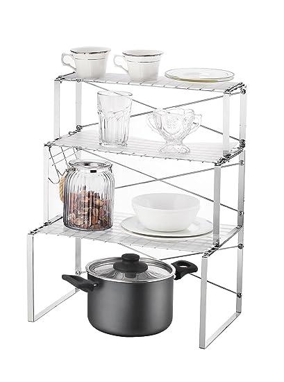 NEUN WELTEN Estantería Multiusos Ajustable de 3 Niveles para estantes y  armarios Organizador de Cocina con 1473bc58d195
