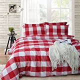 Merryfeel Cotton Duvet Cover Set, 100% Cotton Yarn Dyed Plaid Check Duvet Cover with 2 Pillowshams - Full/Queen Red