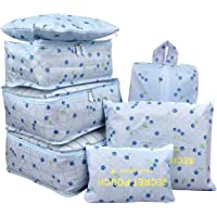 7Pcs Waterproof Travel Storage Bags Clothes Packing Cube Luggage Organizer Pouch(Blue cherry)