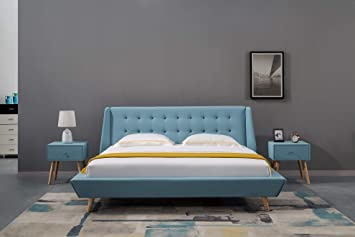 Amazon Com American Eagle Furniture B D076 Mid Century Upholstered Platform Bed With Tufted Headboard Queen Blue Kitchen Dining