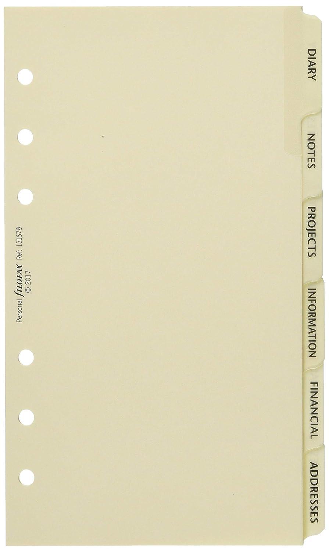 Filofax Personal - Set de 6 clasificadores para agenda de anillas (agenda, notas, proyectos, información, información financiera, direcciones), color ...