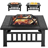 Outdoor Fire Pit MetalFire Bowl Fireplace Backyard Patio Garden Stove with Spark Screen and Safety Poker (32 inches)
