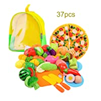 37pcs Pretend Play Food Cutting Toys Plastic Pizza Fruit and Vegetables Kitchen Play Educational Learning Toys for Boys Girls Kids with Storage Backpack