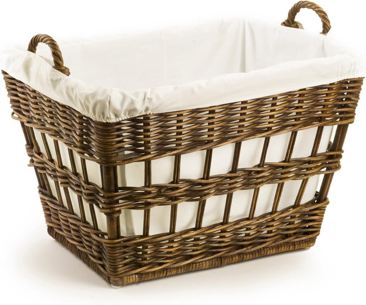 The Basket Lady Wicker French Laundry Basket, 23 in L x 18.5 in W x 18.5 in H, Antique Walnut Brown