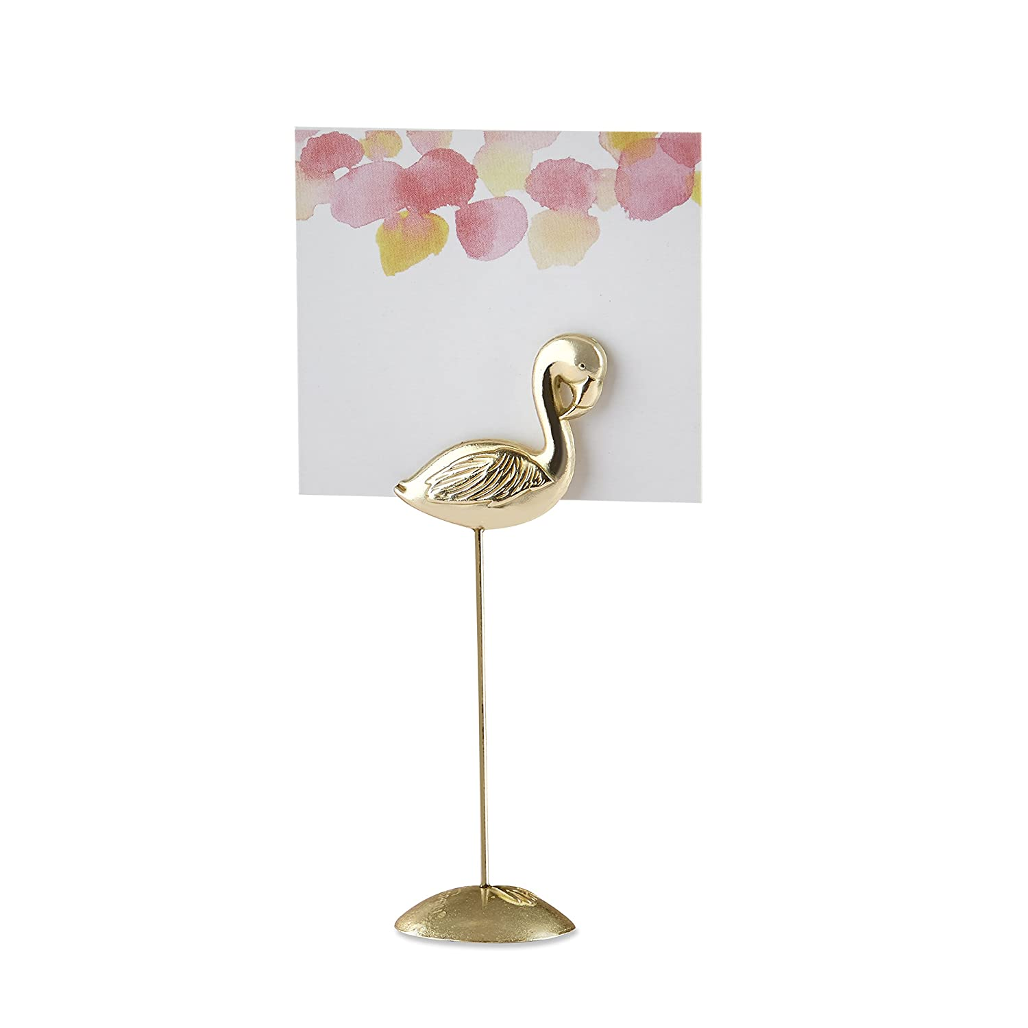 Set of 6 Kate Aspen 11309GD Antique Gold Flamingo Holder /& Pink Watercolor Place Card Holders One Size White and Pink