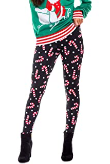 ee6b09f01c195a Tipsy Elves Women's Cute Christmas Leggings - Festive Xmas Leggings with  Candy Canes, Reindeer