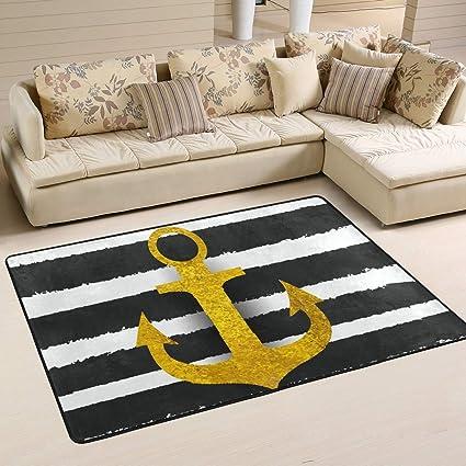 Cenhome Area Rugs Gold Ship Anchor Black White Stripes Floor Mat Indoor Outdoor Non Slip Rugs Home Entryway Carpet Doormat Garden Outdoor
