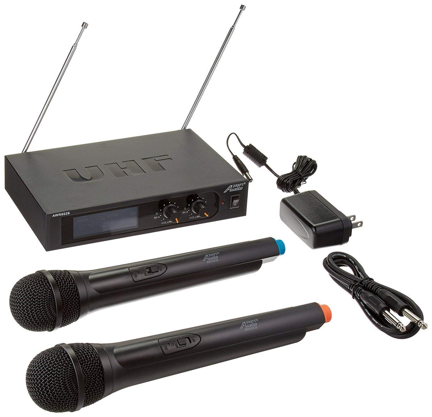 Audio2000'S S6026 Two-Channel System with Two Handheld Wireless Microphones