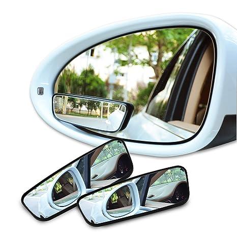 Espejos de punto ciego,Aspiree 2pcs Espejo Retrovisor Ajustable Espejo De Cristal Convexo De HD