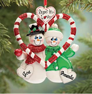 miles kimball personalized candy cane snow couple ornament