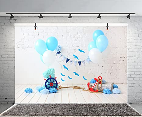 6x4ft Happy 1st Birthday Backdrop Boy Baby Room Wallpaper White Wall Ship Board Blue Baloons Banner Little Seaman Sailor Nautical Birthday Backdrops for Photography Photo Studio Props